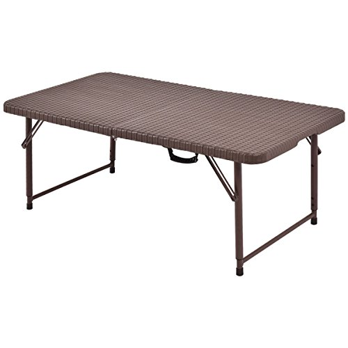 Rattan 4ft folding table portable table indoor outdoor for 4ft sofa table