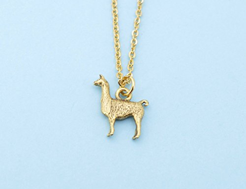 Llama necklace in gold plated pewter on an 18 gold plated cable chain. Llama necklace. Llama jewelry. Llama charm. Llama gifts.