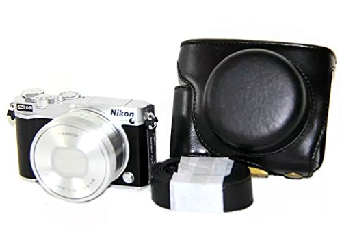iRunzo Ever Ready PU Leather Camera Case Bag for Nikon 1 J5 Compact Camera with 10-30mm Lens (Black)