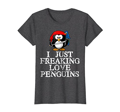 Womens I Just Freaking Love Penguins T-Shirt Pirate Penguin Edition Small Dark Heather - Got Penguins