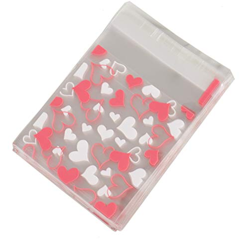 - JETEHO 200Pcs Cute Heart Resealable Cello Cellophane Bags Cookie Bags Self Adhesive for Bakery Candle Soap Cookies