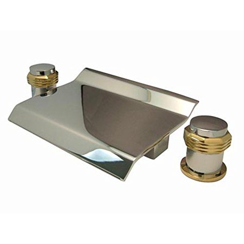 Milano Round Handles (Kingston Brass KS2244MR Milano Waterfall Roman Tub Filler with Round Handle, 3-3/8-Inch, Polished Chrome/Polished Brass)
