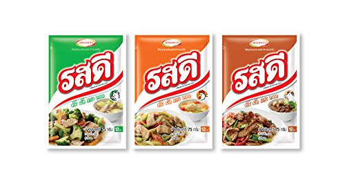 Ros-dee Food Seasoning Chicken/ Pork/ Beef Flavor Thai Original Cuisine Used to Cook Many Kinds of Food -- 3 Packs