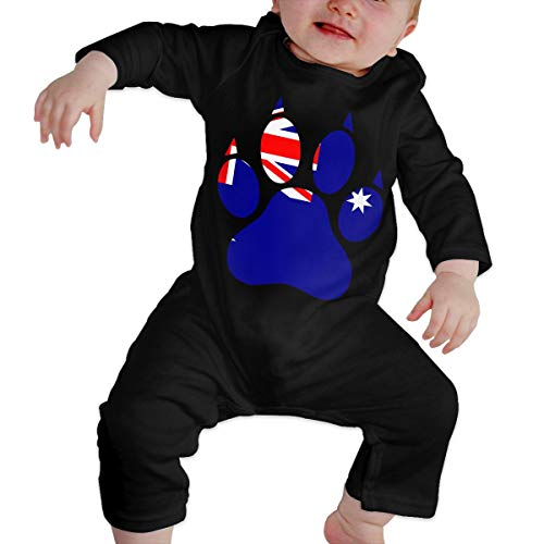Long Sleeve Cotton Bodysuit for Baby Boys and Girls, Soft Australia Flag Dog Paw Jumpsuit Black -