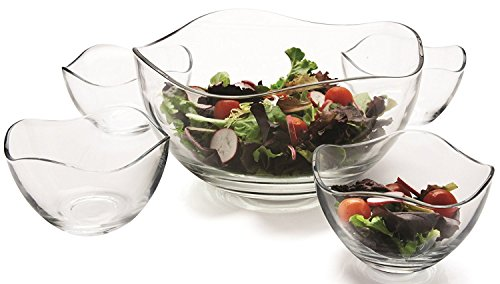 Clear Glass Wavy Salad Bowl, Mixing Bowl, All Purpose Round Serving Bowl Salad/food Glass Bowls, Set of 5, One 10