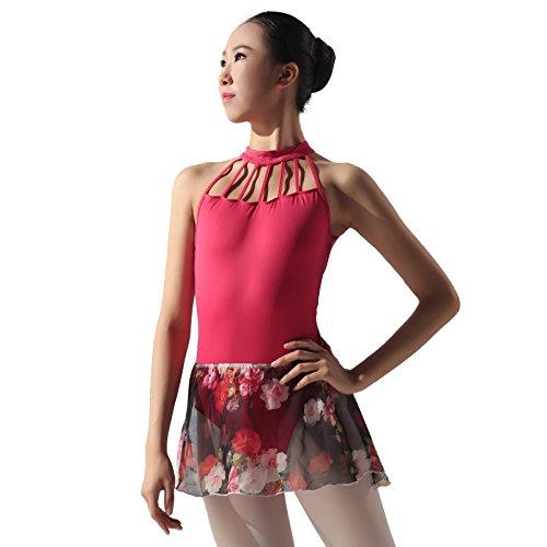 117145404Ballet Printed Chiffon Wrap Skirt, Negro, rojo