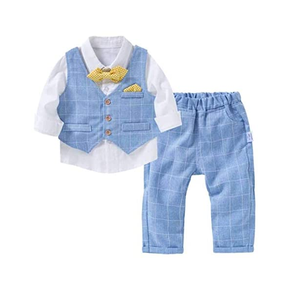 Kerrian Online Fashions 41Nomdig7NL YueLian Baby Toddler Boy's Formal Occassion Checkers Shirt Vest Pants Seperates Clothing Set