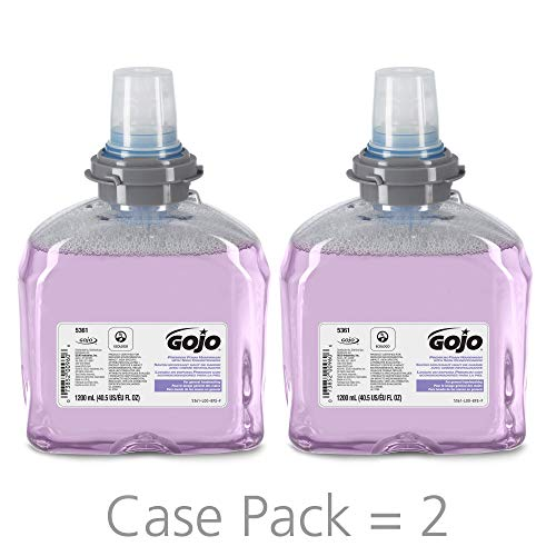 GOJO TFX Premium Foam Handwash with Skin Conditioners Refill, Cranberry Scent, EcoLogo Certified, 1200 mL Foam Soap Refill for GOJO TFX Touch-Free Dispenser (Pack of 2) - 5361-02 - Refill Conditioners Skin