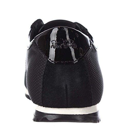 Tränare Kvinna Murgröna Låga Topp Snörning Mode Sneakers Svart / Svart Tunga Nylon / Split Mocka