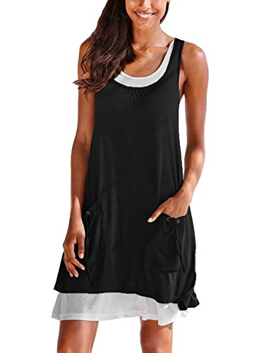 BLENCOT Womens Summer Sleeveless Tunic Dress Casual Swing T-Shirt Dress with Pockets