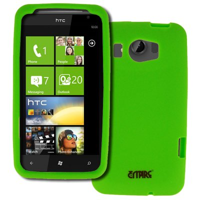 EMPIRE HTC Titan II Silicone Skin Case Tasche Hülle Cover (Neon Grün) + Auto Windschutzscheibe Bergs