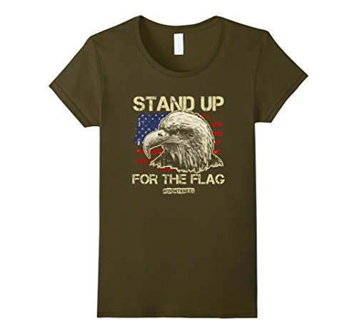 Womens Stand Up For the Flag! I Don't Kneel! Patriotic American Tee XL (Green Mnm)