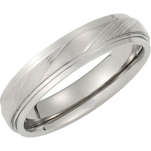 5 mm Titanium Satin and Polished Embossed Band, Size 10.5 by The Men's Jewelry Store
