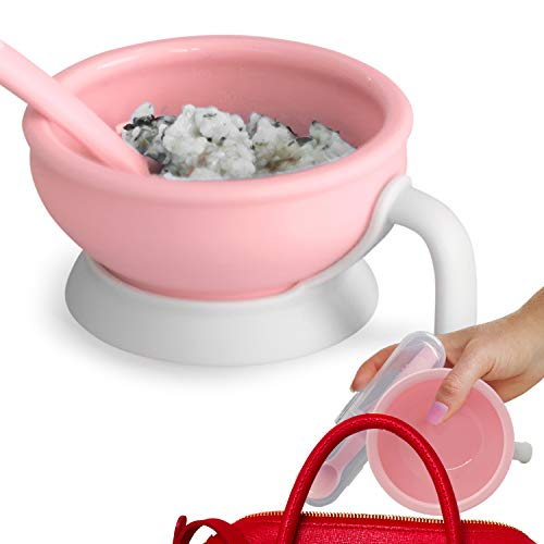Platinum Silicone Baby Feeding Set, BPA Free, Dishwasher Safe, Leak Proof Lid, Storage & Travel, Spoon Doubles as a Soft Teether for Baby Led Weaning from MONEE