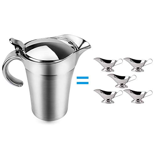 ShineMe Stainless Steel Gravy Boat 25oz Sauce Jug with Lid, Double Wall Insulated, Storage for Gravy or Cream, Used at Home & Kitchen by ShineMe (Image #2)