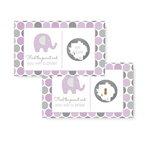 Purple Elephant Scratch Off Cards for Baby Shower (28 pc.) (Purple Elephant Baby Shower Decorations)