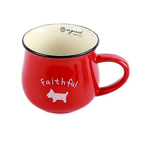 Neolith Red Ceramic Mug with Random Animal Pattern Dog Ladybug Elephant Sheep Cat Mugs Gift Box Unique Shaped Coffee Mugs Funny Coffee Cup Tea Mug for Women Unique Porcelain Cups (12 oz, Crimson)