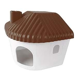 iBaste Dormitorio para mascotas Hamster Cottage House Plástico Mini Small Animal Warm Home Juguetes Montaje Dormitorio pequeño (Café)