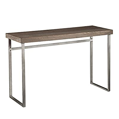 Southern Enterprises Nolan Console Table in Weathered Burnt Oak - Finish: Weathered Burnt Oak Material: Oak Veneer, Manufactured Wood, Metal Tube Contemporary Style - living-room-furniture, living-room, console-tables - 41NooMjGNKL. SS400  -