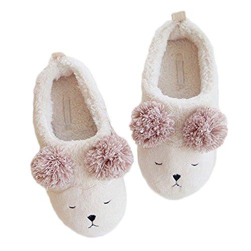 White Wrap Slippers Ladies Sheep Fortuning's House Girls Cozy Fleece Comfy Women Flatform Footwear JDS Lovely gwAzO