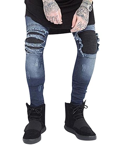 Elasticizzati Conici Stretti Slim Fit Blu Dritti Strappati Jeans Uomo Pantaloni xtIgwF8q