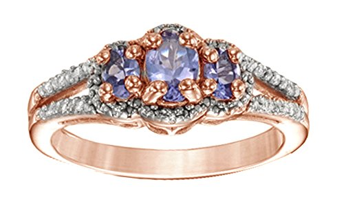 Cyber Monday Deal Oval Tanzanite and Diamond Accent Three Stone Frame Ring in Rose Gold Over Sterling Silver by Jewel Zone US