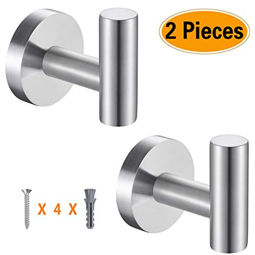 Topspeeder 2 Pcs Bathroom Towel Hooks, Coat/Robe Clothes Hooks, SUS 304 Stainless Steel Wall Hook Heavy Duty for Bedroom,Kitchen,Restroom,Bathroom,Hotel,Brushed Nickel and Wall Mounted (Silver) ()