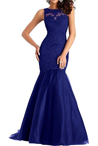 Charmant Royal Dunkel Spitze Meerjungfrau Abschlussballkleider Kleider Abendkleider Schwarz Damen Langes Blau Ballkleider 6fB6Tr