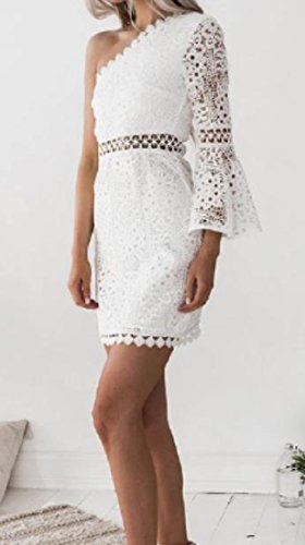 Un Point De Dentelle Épaule De Silm De Confortables Femmes Robe Sexy Adapter Évidé Blanc