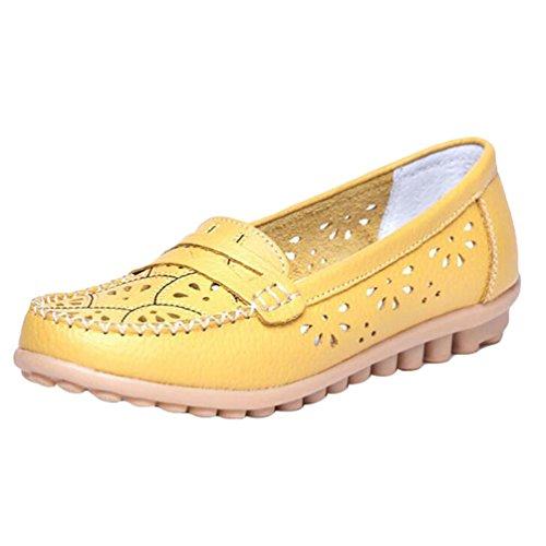 YAANCUN Mujeres Hueco Zapatos De Cuero De Suave Ocio Pisos Mocasines Casuales Como la imagen 1