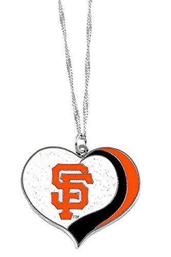 aminco San Francisco Giants MLB Sports Team Logo Charm Gift Glitter Heart Necklace