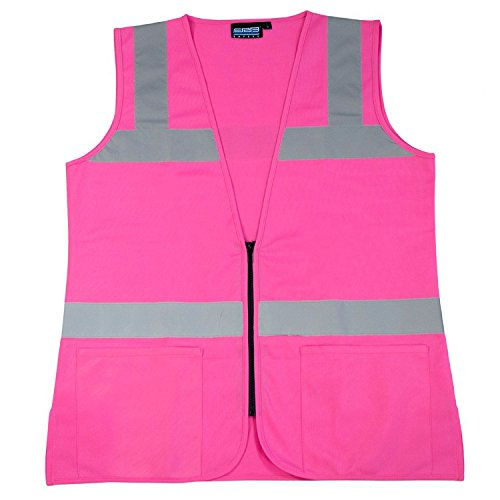 ERB 61910 S721 Non-ANSI Hi-Vizability Female Fitted Vest, Medium, Pink (Pink Womens Safety Vest)