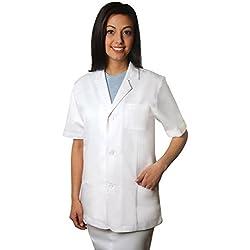 "Adar Universal 31"" Unisex Short Sleeve Consultation Coat - 2816 - White - XL"