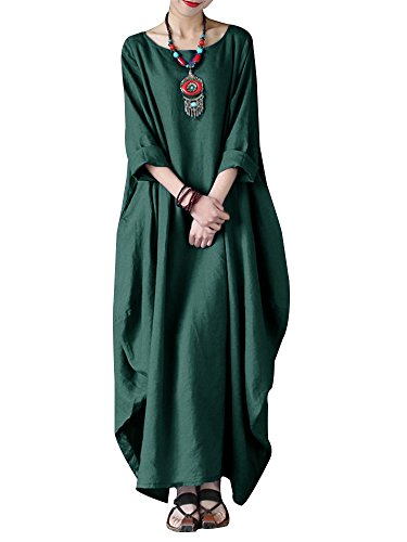 Celmia Women's 3/4 Sleeve Round Neck Solid Loose Long Maxi Dress Cotton Gown with Side Pockets Green L -