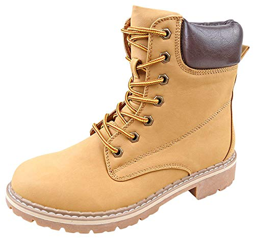 Forever Women's Ankle High Combat Hiking Boots-3,Camel,9