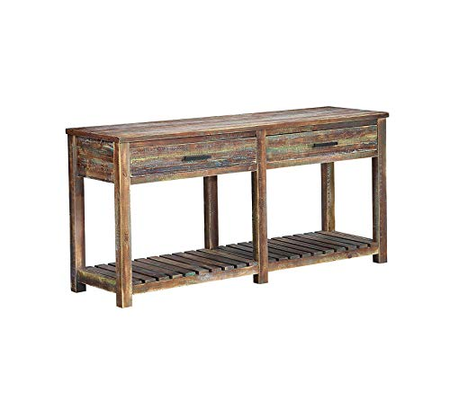 Wood & Style Furniture Jamestown Two Drawer Console Table Multi Home Office Commerial Heavy Duty Strong Décor ()