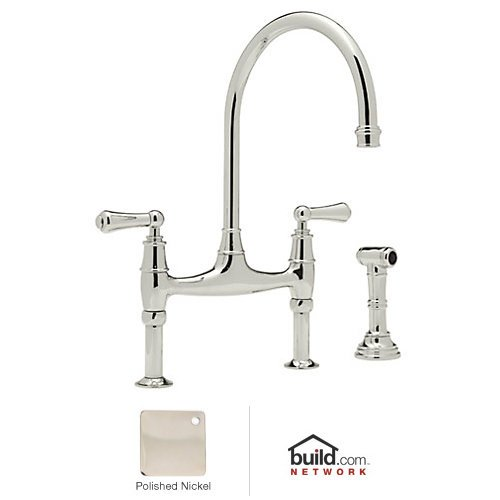 Rohl U.4719L-PN-2 Perrin and Rowe Bridge Style Kitchen Faucet with Sidespray, Polished Nickel (Faucet And Perrin Nickel Rowe)