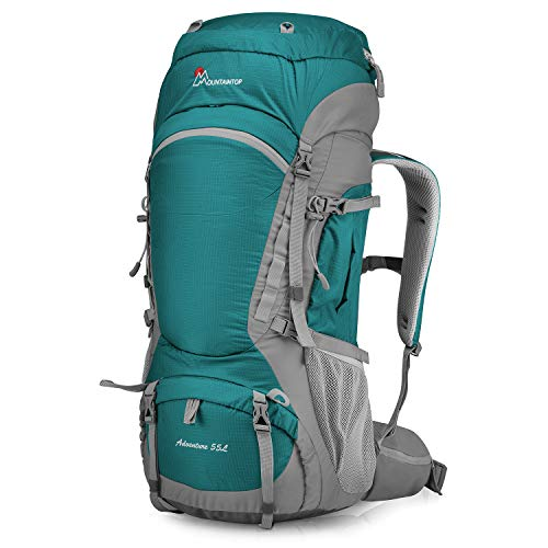 Mountaintop 55L/75L/80L Hiking Backpack with Rain Cover (type2-55L-LakeGreen)