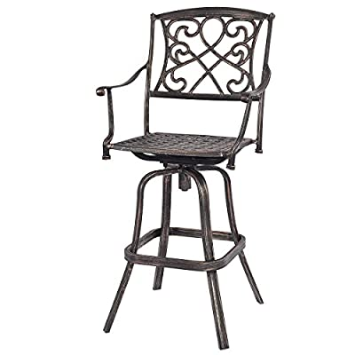 Costway New Cast Aluminum Swivel Bar Stool Patio Furniture Antique Copper Design Outdoor