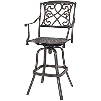 costway new cast aluminum swivel bar stool patio furniture antique copper design outdoor - Swivel Patio Chairs