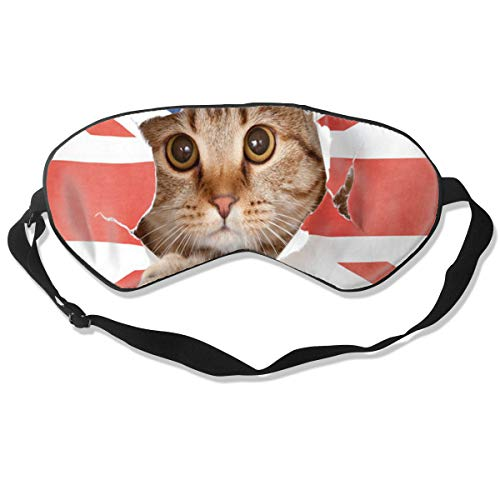Eye Mask Cat Kitten British UK Flag Stylish Eyeshade Sleep Mask Soft for Sleeping Travel for Unisex]()