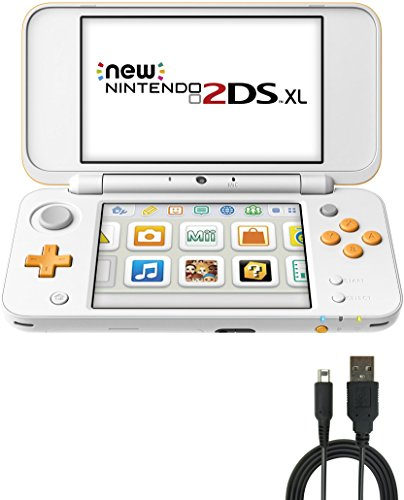 s) Bundle: Nintendo New 2DS XL - White + Orange and USB Sync Charge USB Cable ()