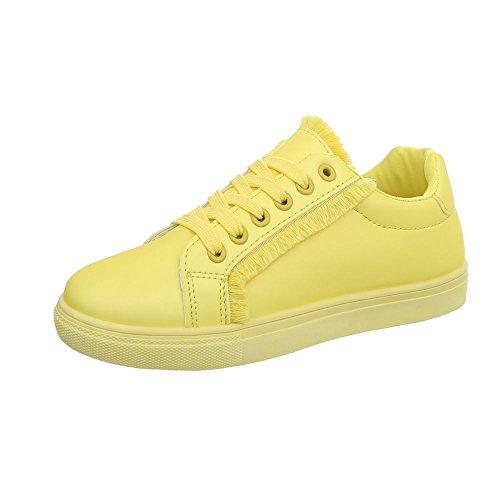 Ital-Design Sneakers Low Damen-Schuhe Schnürsenkel Freizeitschuhe Weiß, Gr 39, G-91-
