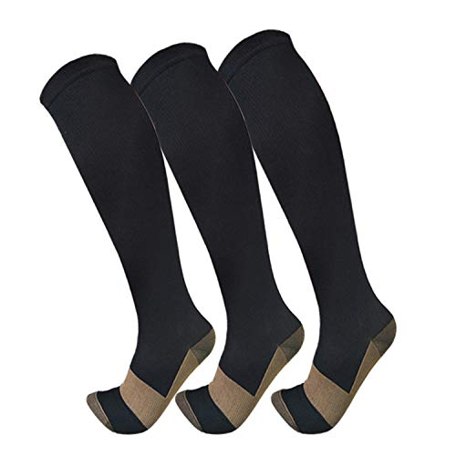 Copper Compression Socks For Men & Women(3 Pairs)- Best For Running,Athletic,Medical,Pregnancy and Travel -15-20mmHg (L/XL, -