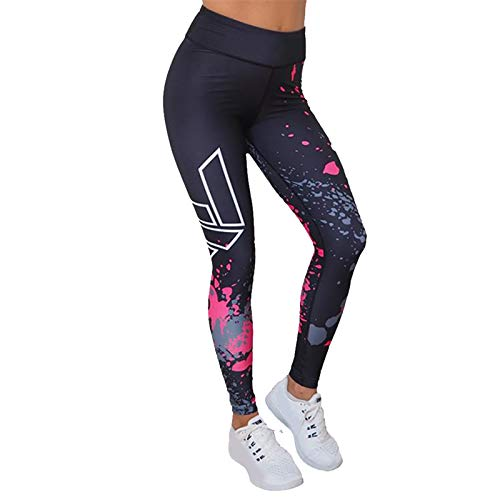 Thenxin Women's Print Yoga Leggings High Waist Slimming Workout Trainning Sports Stretch Pants(Black,XL)