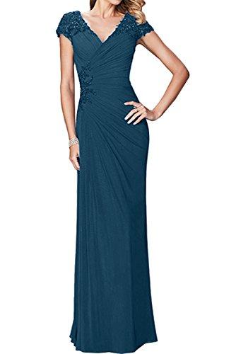 Brautmutterkleid V Festlich Ausschnitt Abendkleider Damen Promkleider Chiffon Ivydressing Blaugruen Arm Z1qg0n