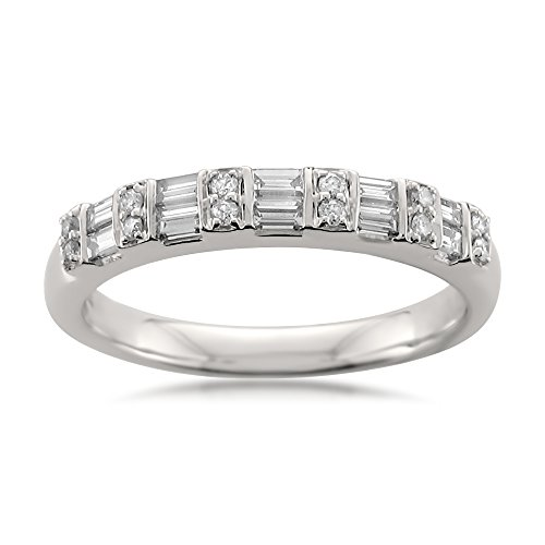 (14k White Gold Baguette & Round Diamond Bridal Wedding Band Ring (1/2 cttw, I-J, I1-I2), Size 6.5)