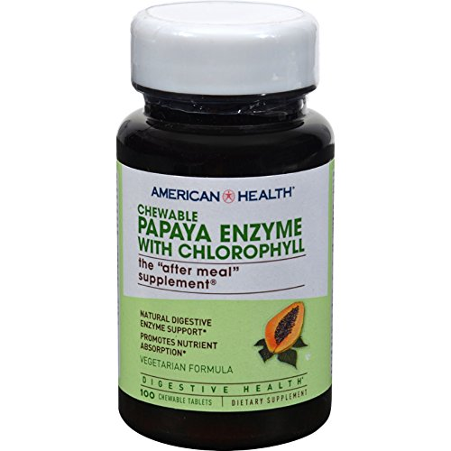 - American Health Papaya Enzyme with Chlorophyll Chewable - Digestive Health - Gluten Free - 100 Chewable Vegetarian Tablets (Pack of 2)