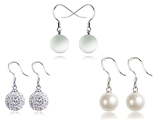 Injoy Jewelry 3 Pairs Women Faux Pearl, Crystal Ball, Synthetic Cat Eye Stone Ball Dangle Earrings Set (White Eye Cats Pearl)