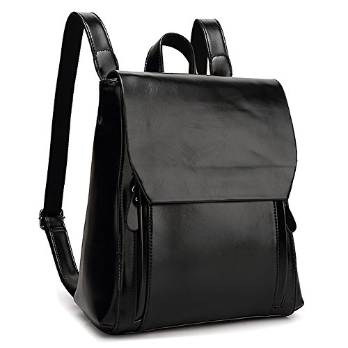 Deluxe Leather Backpack - YiYiNoe Minimalist Retro PU Leather Backpack Purse Casual Daypacks for Girls Womens Black